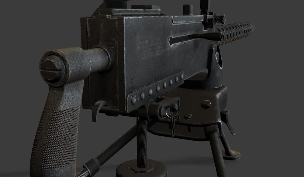 M1919 machine gun model by 3D artist Harwinder Singhh